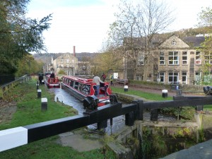 Rochdale Canal running through Hebden Bridge
