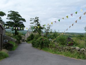 Elmet Farmhouse with bunting at the top of the drive